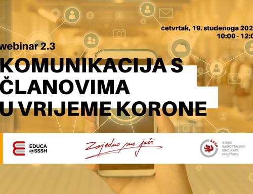 WEBINAR 2.3: Komunikacija s članovima u vrijeme korone